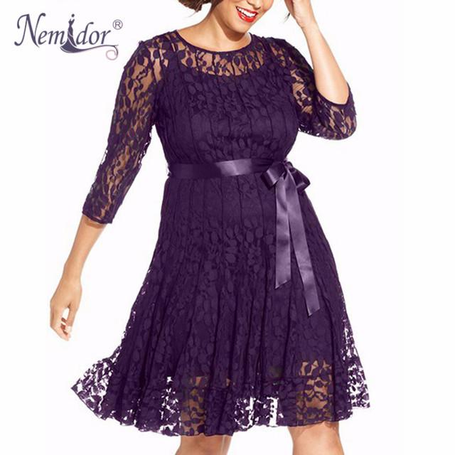 Nemidor otoño elegante de las mujeres 3/4 retro bordado una línea de encaje de manga dress o-cuello más el tamaño con cinturón swing party midi dress