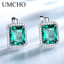 UMCHO Luxury Rectangle Created Emerald Clip Earrings Solid 925 Sterling Silver Colorful Gemstone For Women Fine Jewelry