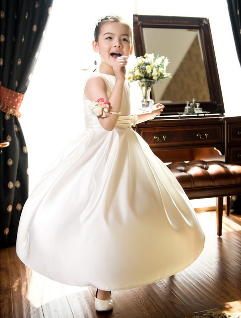 db18942f348 LAN TING BRIDE A-Line Tea Length Flower Girl Dress - Satin Sleeveless Jewel  Neck by LAN TING BRIDE