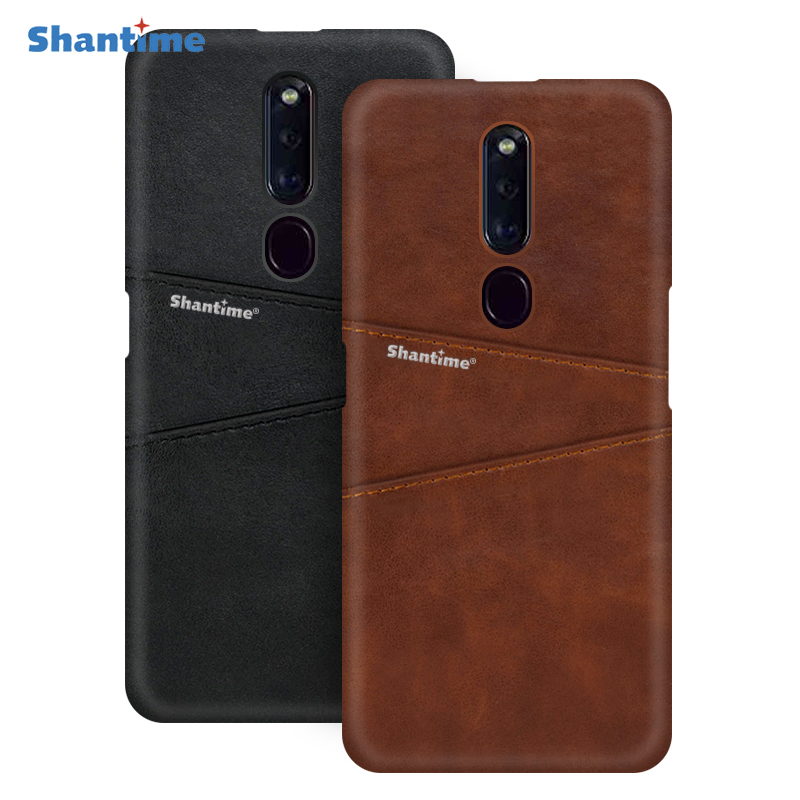 Luxury Vintage Leather Back Cover For OPPO F11 Phone Case For OPPO F11 Pro Card Slot PU Leather Case
