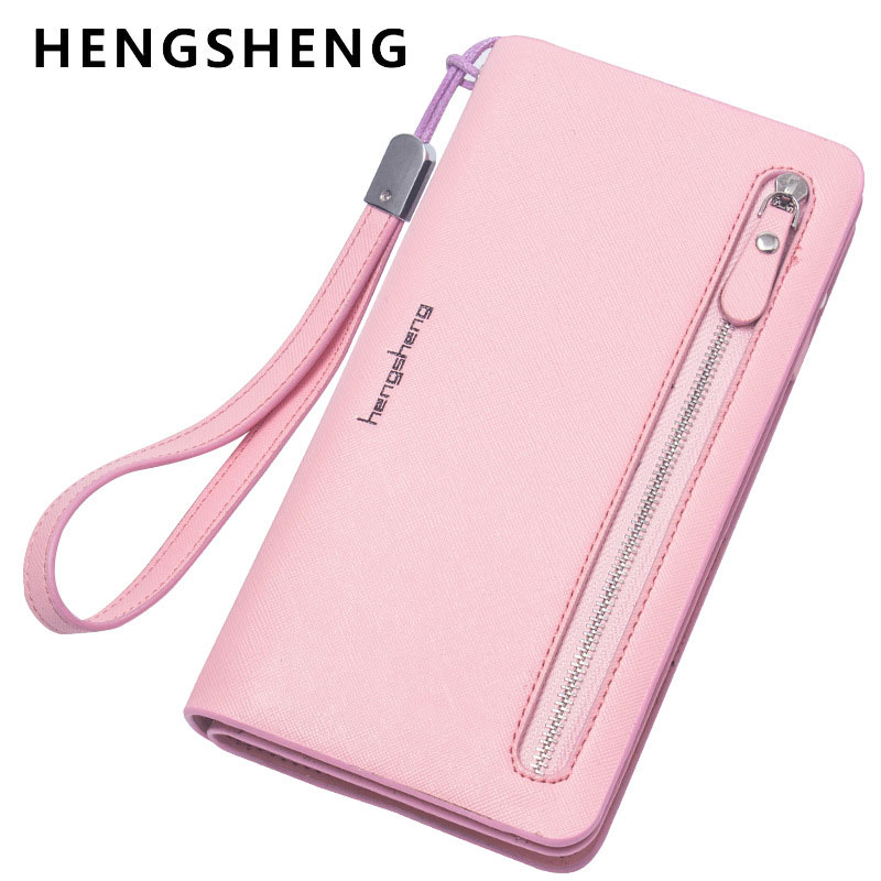 HENGSHENG Women Famous Brand Designer High Quality Leather Wallet Female Zip Fashion Dollar Price Long Woman Wallets Purses men genuine leather wallet 2016 dollar price luxury famous designer high quality money clip men wallet