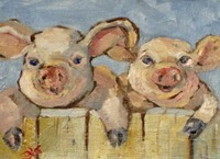 100% Handmade Smiling Pigs Farm Animal Oil Painting On Canvas Hand painted Wall Knife Oil Painting For Home Decoration