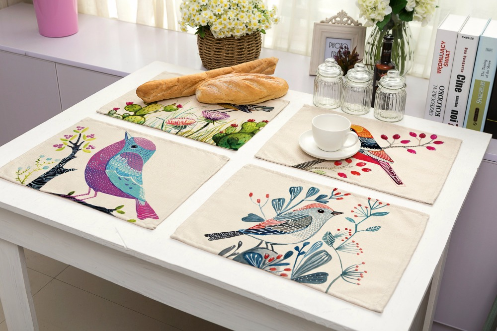 SunnyRain 4/6 Pieces Linen Cotton Birds Table Cloth Placemat Sets Table  Decoration Table Runners 42x32cm In Tablecloths From Home U0026 Garden On  Aliexpress.com ...