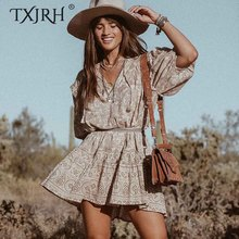 купить TXJRH Vintage Bohemia Khaki Floral Print V-Neck Loose Mini Dress Sashes Tassel Lacing up Tied Bow 3/4 Sleeve Ruffles Short Dress онлайн