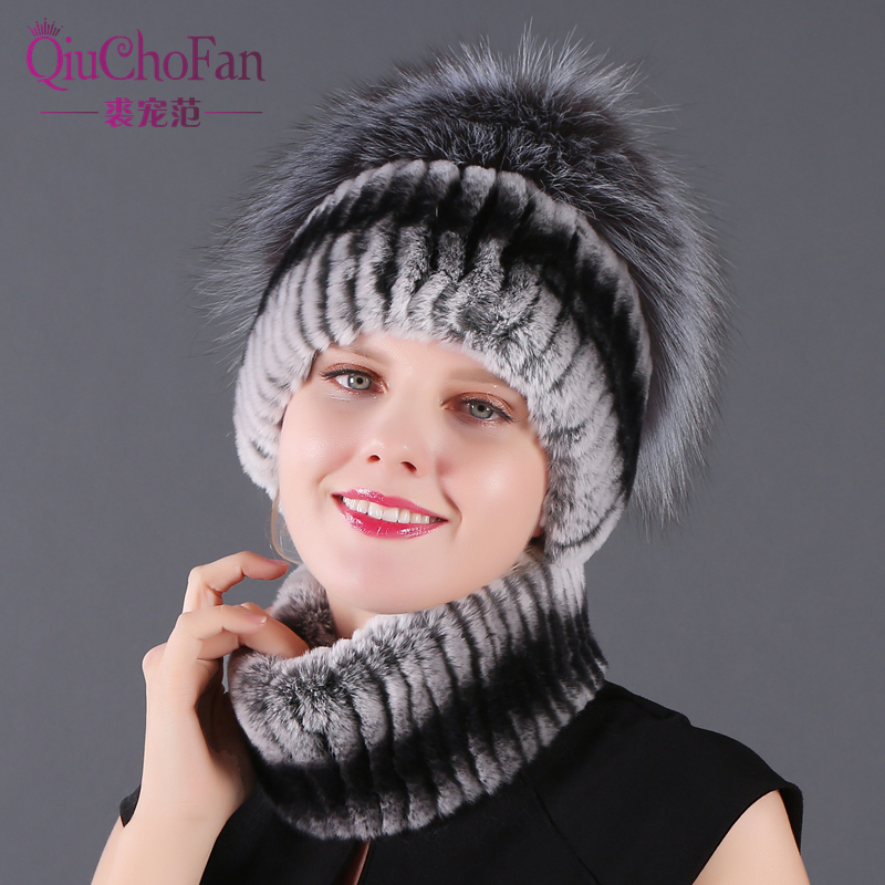 Women Scarf Rex Rabbit Fur Hat For Winter Natural Fox Fur Scarf And Hat Solid Color 2018 New Cap And Scarf