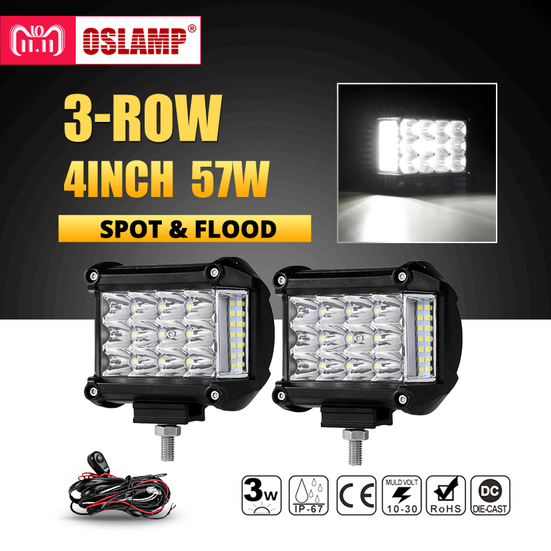 Oslamp 3-Row 4inch 57W LED Work Lights Offroad Led Bar Light Trucks Boat ATV 4x4 4WD 12v 24v Spot Flood Driving Lamp Headlight safego 2x 4 27w led work light 12v 24v off road 4x4 car trucks atv 4wd tractor led offroad lights flood spot driving lamp