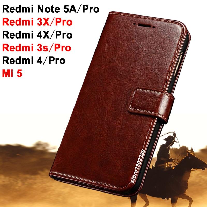 Xiaomi redmi note 5a Pro väska täcka 5 en läder Crazy häst fodral - Reservdelar och tillbehör för mobiltelefoner - Foto 1