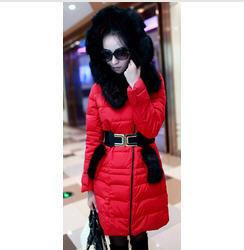 2013 Winter New Korean Female Warm Long Down Jacket WomenS Luxury Fur Collar Slim Thick Hooded Down Coat Free Shipping H1140