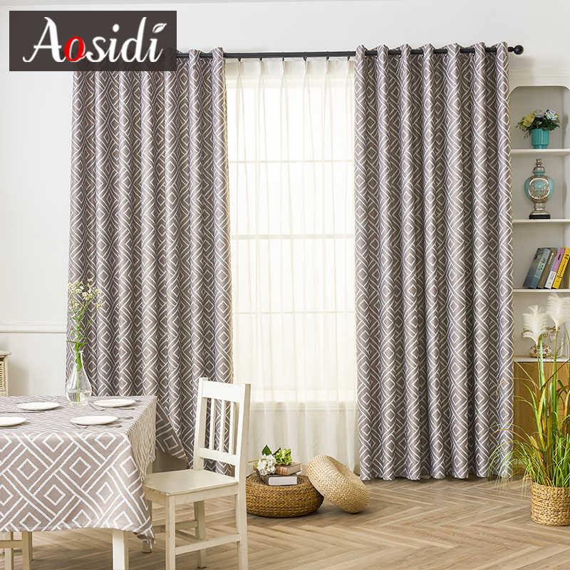 Square Blue Printed Curtains For Bedroom Window Modern Blackout Curtains For Living Room Blinds 80 Shading Cloth Drapes Fabric Curtains Aliexpress
