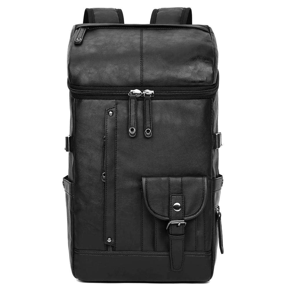 Awen Shaw Mens Big Capacity Travel Backpack Bag Black PU Leather School Backpack Casual Laptop Business Mochila Trip FashionAwen Shaw Mens Big Capacity Travel Backpack Bag Black PU Leather School Backpack Casual Laptop Business Mochila Trip Fashion