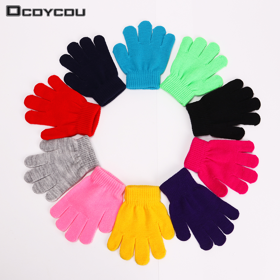 1 Pair Cute Winter Warm Children Gloves Knitted Stretch Mittens Kids Solid Girls Boys Full Finger Gloves 10 Colors ...