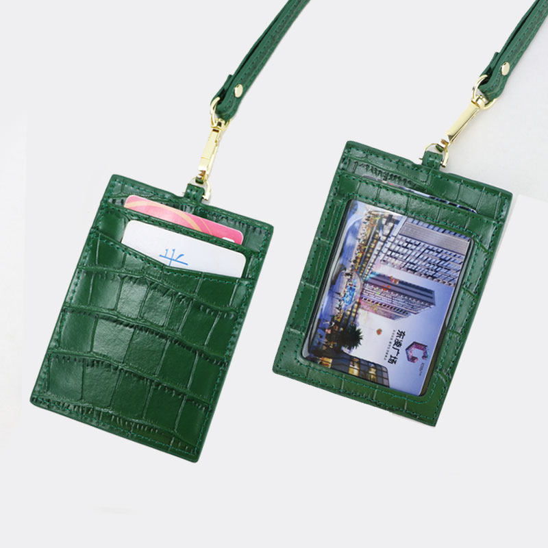 New Embossed Crocodile Leather Lanyard Card Holder For Men Women ID Card Holder Leather Monogrammed Letters