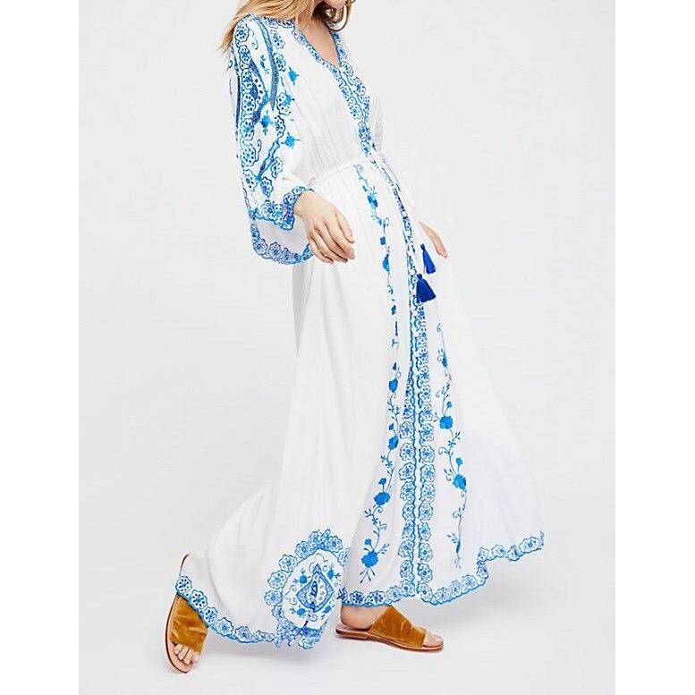 2019 Boho femmes évider longue Maxi robe d'été blanc broderie fleurs robe bohème vacances plage robe