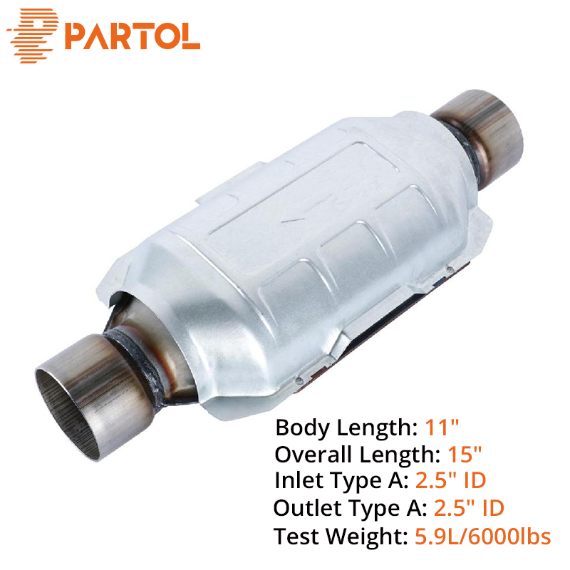 Partol 2 5inch Universal Car Catalytic Converter Replacement Parts Greater Sound For Exhaust System For Chevrolet