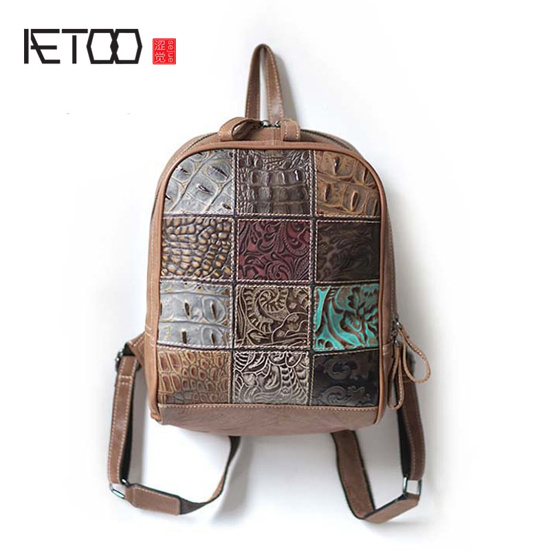 AETOO 2017 new panelled patchwork alligator bag handmade leather personality backpack vintage shoulder bag women travel bag aetoo shoulder bag 2017 new women leather shoulder bag travel bag 100