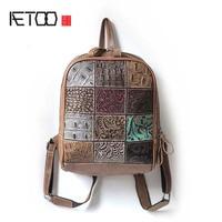AETOO 2017 New Panelled Patchwork Alligator Bag Handmade Leather Personality Backpack Vintage Shoulder Bag Women Travel