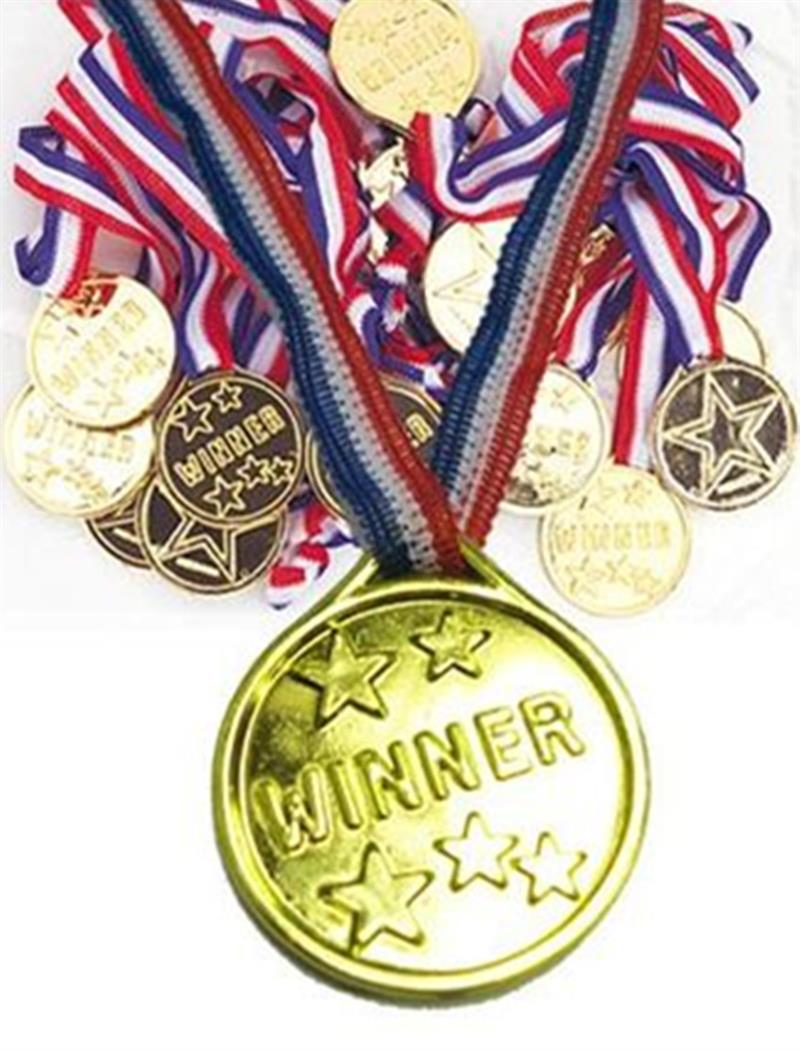 100 Pcs Gold Medals Kids First Place 1st Prize School Winners Sports Awards Party Play Games Gold Medal On Ribbon Ideal Birthday