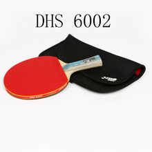 лучшая цена DHS 6002 Table Tennis racket with cover Tennis rubber Professional training Pingpong Rackets paddle Christmas gift