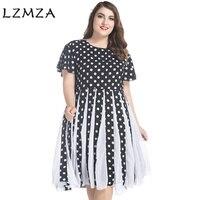 LZMZA vestido Gasa Del Verano de Gran tamaño de La Vendimia Polka Dot mujeres elegantes Plisados vestidos de fiesta vestidos de manga Corta Más El Tamaño 6XL