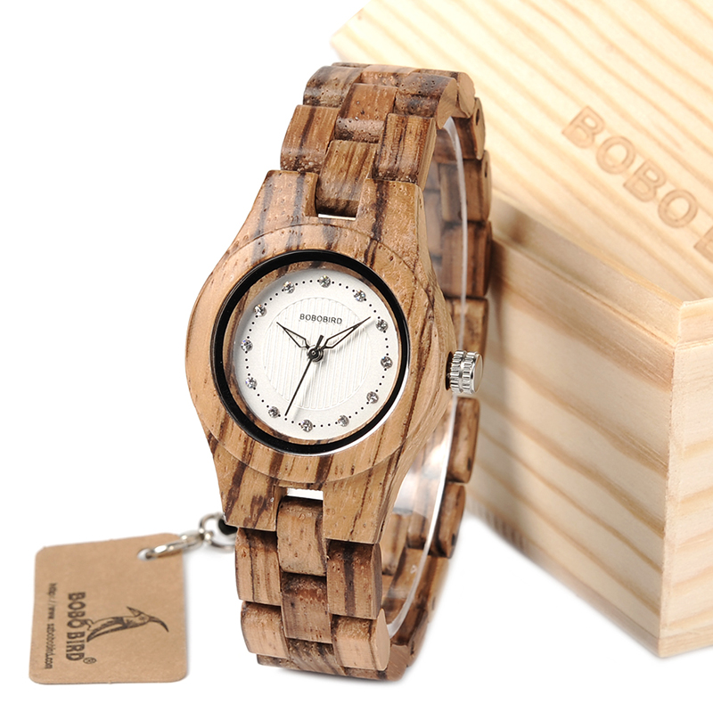 лучшая цена BOBO BIRD Women Watches All Zebra Wood Case Rhinestone Dial Ladies Dress Watch with Quartz in Wooden Box