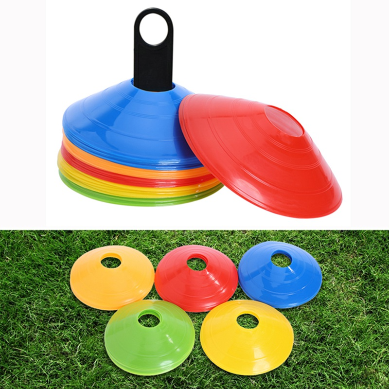 10pcs Soccer Training Sign Flat Pressure Resistant Cones Marker Discs Bucket Marker PE Football Training  Accessories