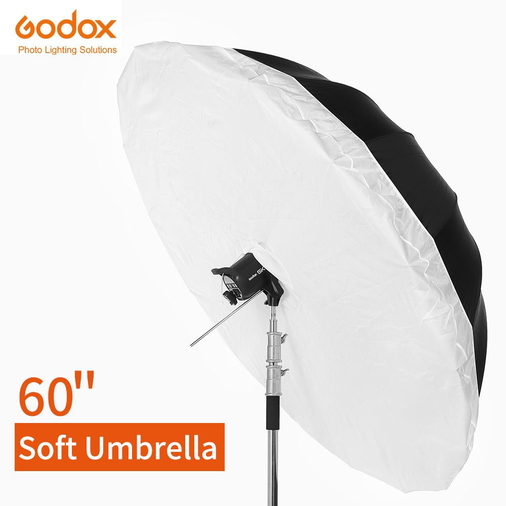 """Godox Studio Photogrphy parapluie 60 """"150 cm noir blanc parapluie réfléchissant + grand diffuseur couverture pour Studio de prise de vue-in Accessoires pour studio photo from Electronique    1"""