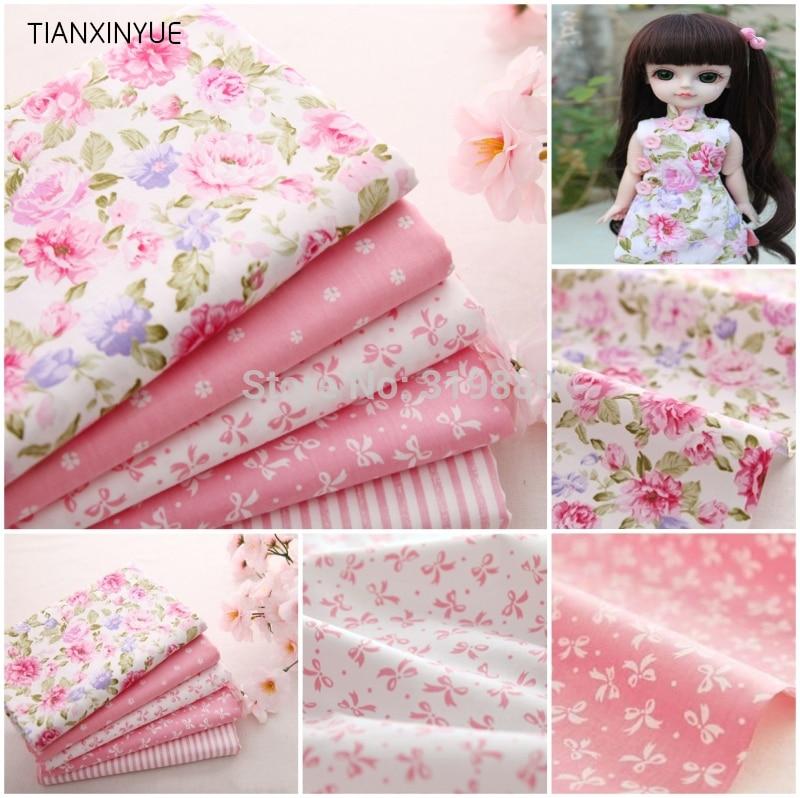 5 st 40cm * 50cm Söt Rosa Tryckt Bomull Tyg Telas Bundle DIY Patchwork Sömnad Baby Toy Material Quilting Sängkläder Textil