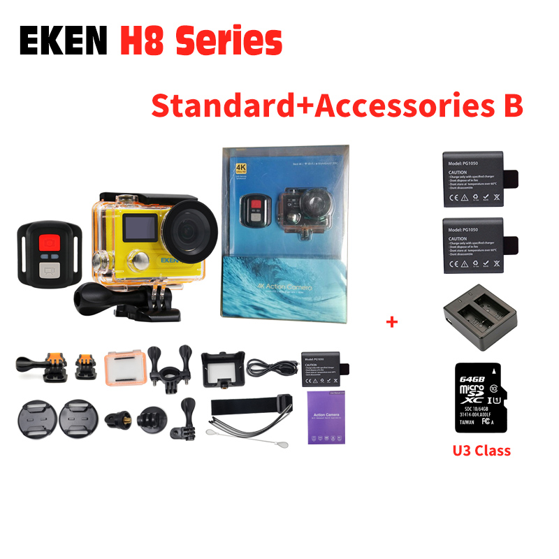 EKEN H8 PRO Action Camera H8R VR360 4K/30fps 14MP 2.0 Dual LCD Go 30M Waterproof Pro extrem camera Sports Camera Hero 5 Style original eken action camera eken h9r h9 ultra hd 4k wifi remote control sports video camcorder dvr dv go waterproof pro camera