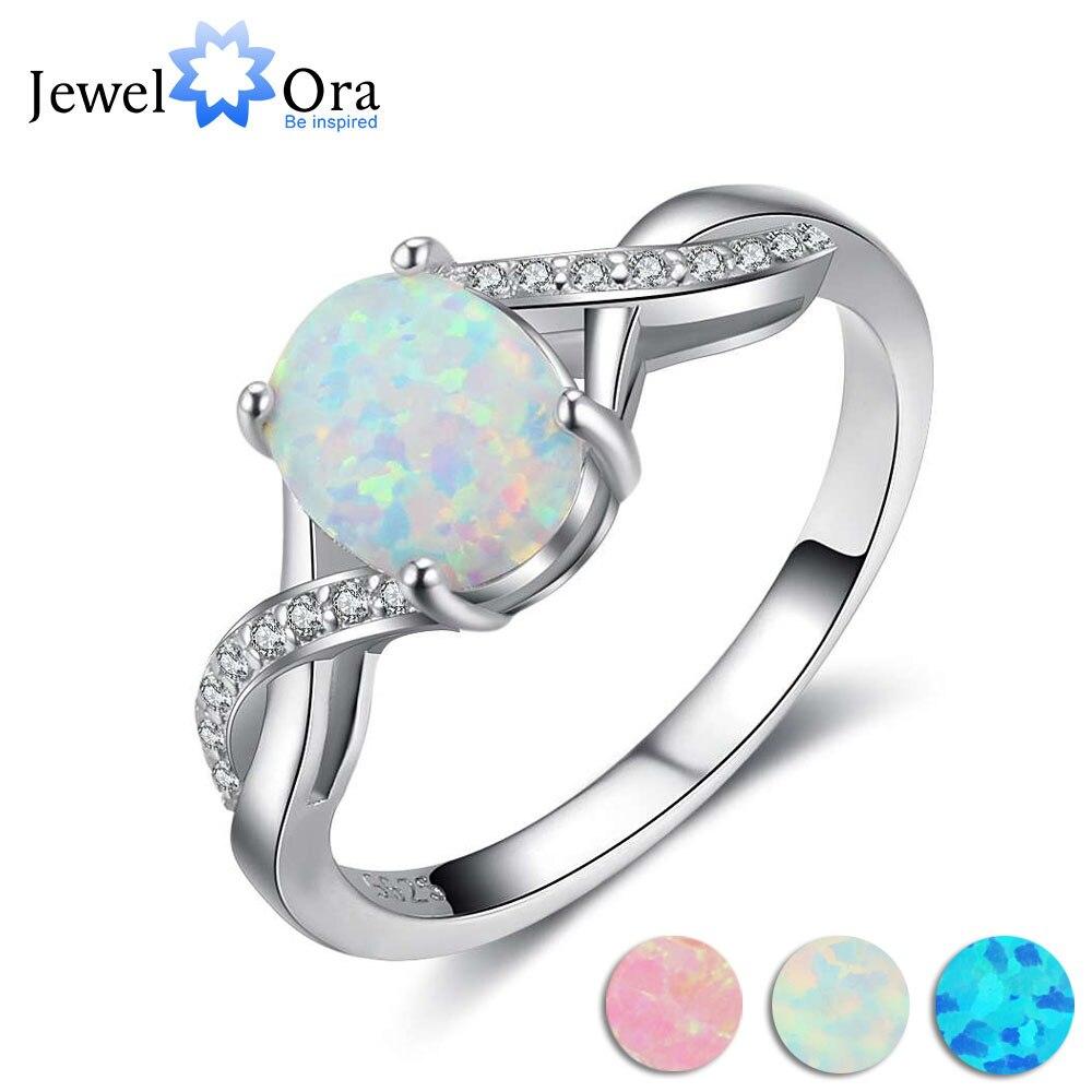 8mm Oval Creme Opal Stein Finger Ring Echtem 925 Sterling Silber Ringe Für Frauen Mode Hochzeit Schmuck (JewelOra RI103631)