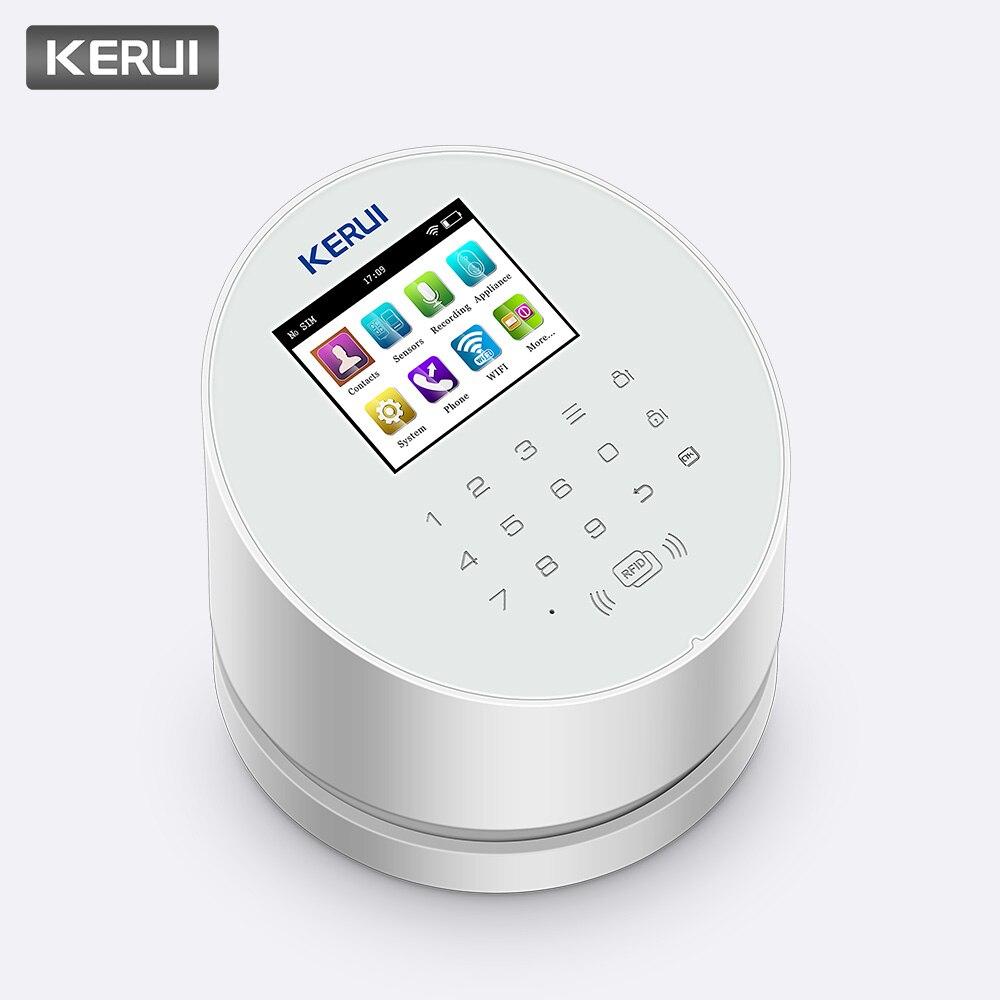 KERUI W2 WiFi PSTN GSM panneau d'alarme sans fil système de sécurité anti-intrusion à domicile APP contrôle Compatible avec le détecteur de caméra IP RFID PIR