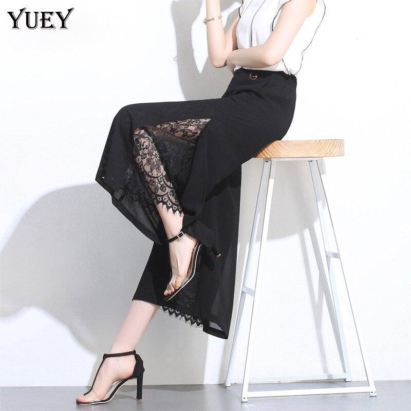 2019 Summer New Cropped   Pants   Women Black High Waist Transparent Chiffon   Pants   Thin Side Splits Dots Lady Fashion   Wide     Leg     Pants