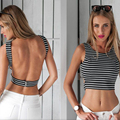 Summer Women Lady Sexy Slim Bodycon O-Neck Sleeveless Backless Hollow Out Black White Stripes Vest Tank Crop Tops Blouses