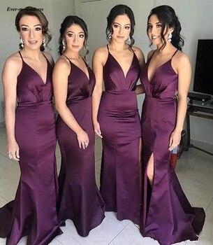 Long Grape Mermaid Bridesmaid Dresses 2019 Side Split Halter V Neck Sexy Formal Wedding Guest Gowns Robe Demoiselle D'honneur