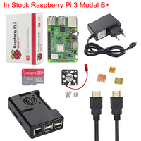 IN STOCK Raspberry Pi 3 Model B + Kit + Case + Fan + 16 32 G SD Card + Power Adapter + HDMI Cable + Heat Sink RPI 3 B Plus