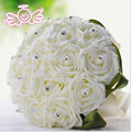 Wedding Bouquet Bridal Bridesmaid Flower wedding bouquet artificial flower rose bouquet white bridal bouquets Promotion