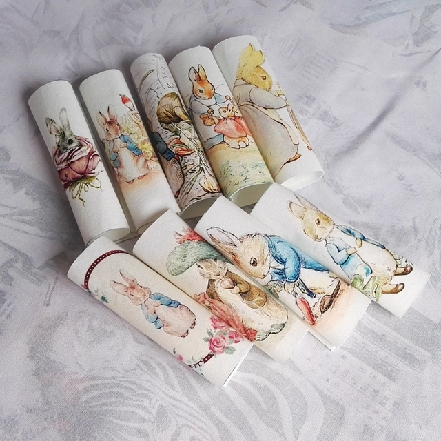Peter rabbit Hand dyed  Assorted Cotton Linen Printed Quilt Fabric For DIY Sewing Patchwork Home Textile Decor 15*15cm