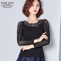 2017 Spring New Lace Fashional Blouse Special Stitching Hot Drilling Net Yarn Tops Plus Size Women