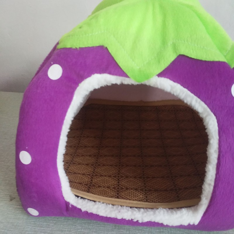 Foldable Cat Dog Kennel Warm Cushion with Cooling Mat Pad Bed Strawberry Shape Sponge Pet House Dog Nest