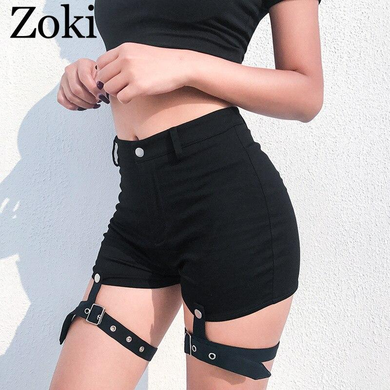 Zoki Summer Women Two Piece Set Sexy Black Halter Crop Top Metal Button Choker Gothic Tanks&shorts Pure Cotton Street Wear 2020