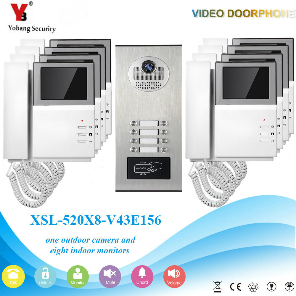 YobangSecurity 4.3 Inch Monitor Video Door Phone Doorbell Camera Video Intercom System RFID Access Control 1 Camera 8 Monitor door intercom video cam doorbell door bell with 4 inch tft color monitor 1200tvl camera