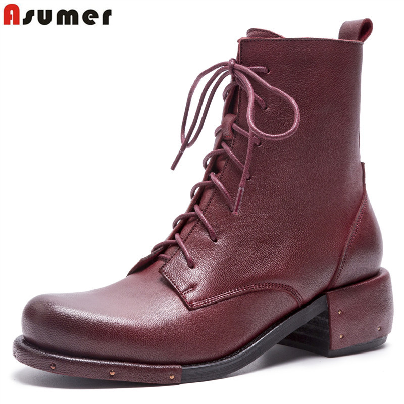 ASUMER Retro genuine leather boots women square heel lace up autumn winter boots ladies dress ankle