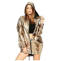 MYPF Women Spring Autumn Hoodie Long Sleeve Sweatshirt Golden PVC Raincoat Zipper Up Punk Unisex Street