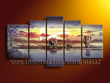 Framed 5 Panel Large African Canvas Painting Landscape Wall Picture Home Decor A0793(China)