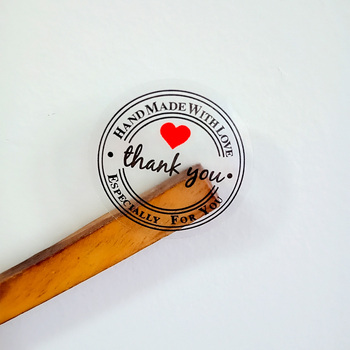 100PCS/lot Kawaii Vintage Transparent Thank youRound Kraft Seal sticker For handmade products Handmade with LoveLabel