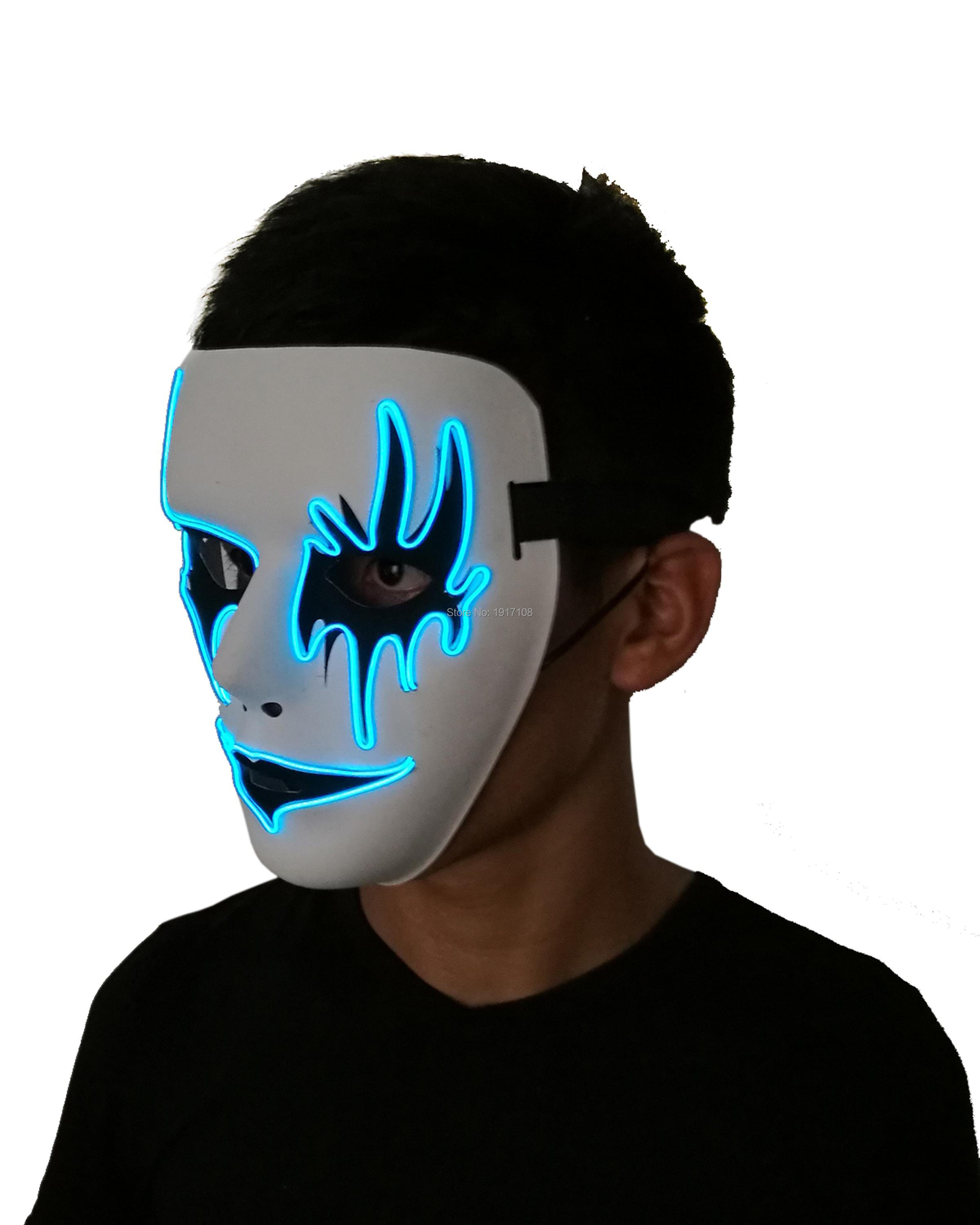 Free shipping Sound Activated horror mask ghost mask Wedding Supplies 10 Color Available EL Mask For Halloween Party Decor