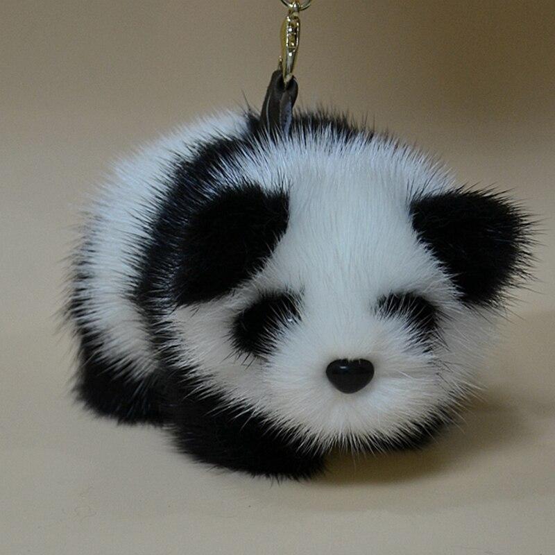 Vison laine rouge Panda pur fait à la main fourrure pendentif emballage voiture sangles Meng jouets en peluche porte-clés sangles