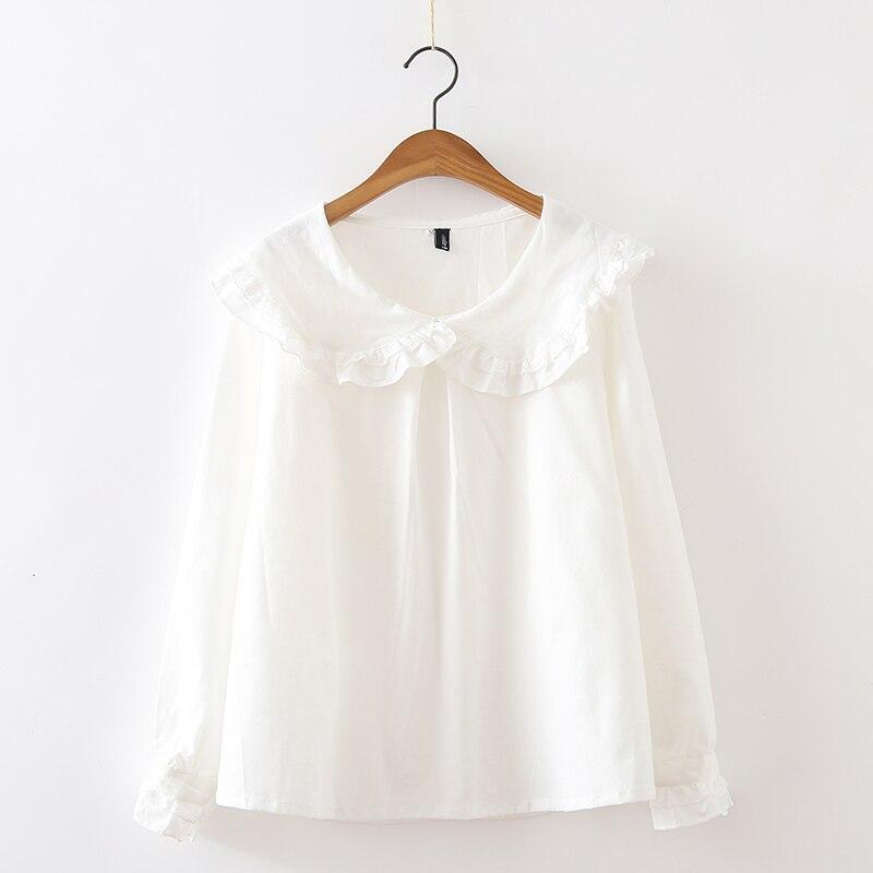 2017 Del Otoño Del Resorte Japonés Femenino Sólido Blanco collar de Peter Pan Camisas de Volantes Que Basa La Camisa Blusas de Las Mujeres Todas Correspondan T283