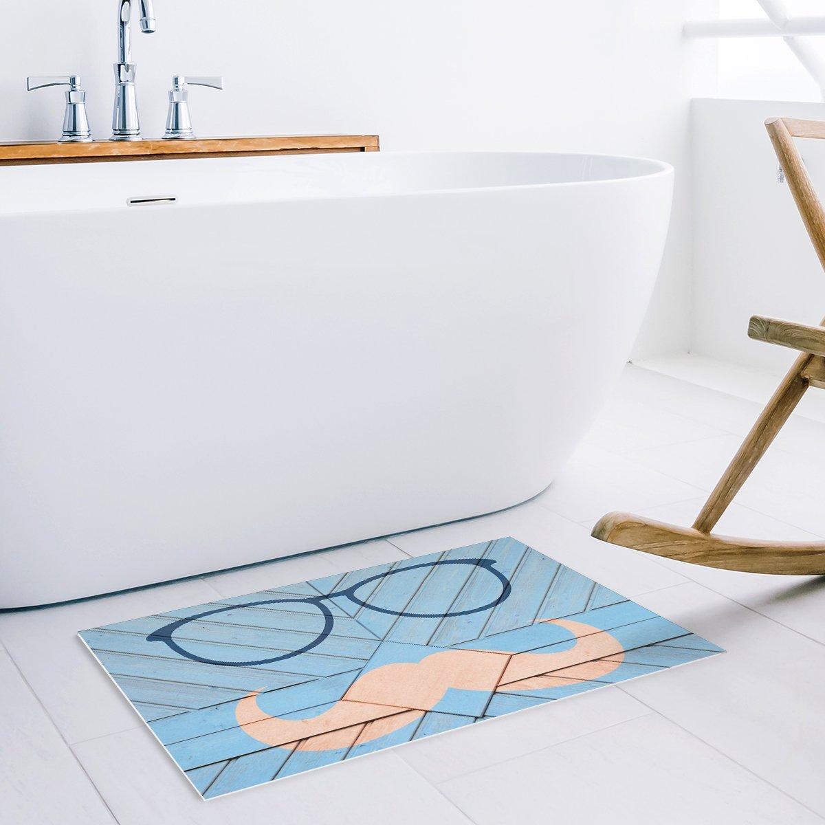 Funny Blue Wood Geometric Glasses Beard Bowtie Door Mats Kitchen Floor Bath Entrance Rug Mat Rubber Non Slip