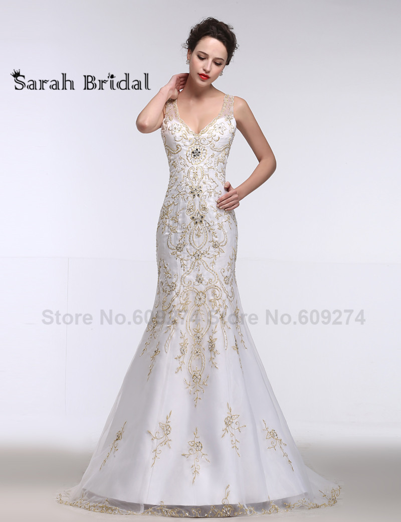 2016 formal ceremony gold embroidery wedding dresses for Wedding dresses with gold beading