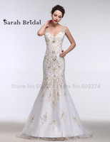 2016 Formal Ceremony Gold Embroidery Wedding Dresses Beading Long Train Bridal Gowns Sheer Backless Arabic Islamic
